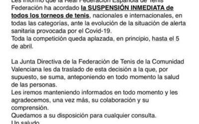 Comunicado de la Federación de Tenis de la Comunidad Valenciana.
