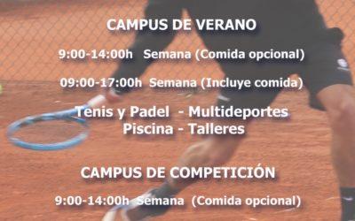 Campus de Verano 2020 en el Club de Tenis el Collao.
